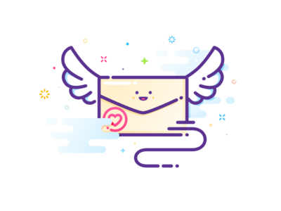 Love letter smile fun mood prokopenko character writing mbe proart message clouds wings soar love flight heart mail letter