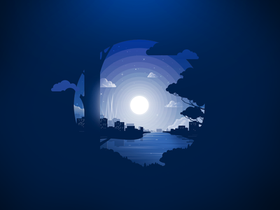 Night city river water house tree forest radiance landscape trend illustration prokopenko proart nature negative silhouette clouds sky stars moon night city