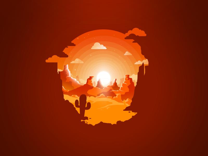 Desert mountain clouds hot orange sun sunset prokopenko proart cactus desert rock mountain