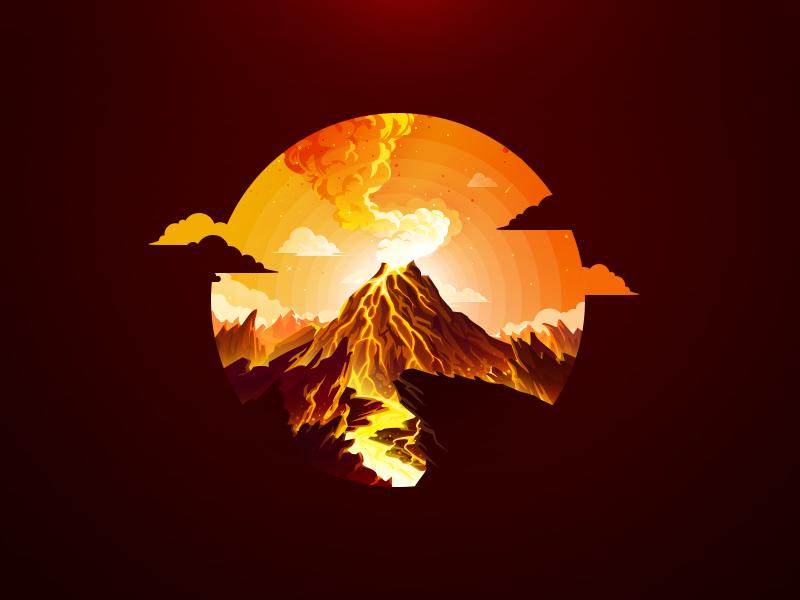 Volcano illustration eruption mountain proart prokopenko trend hot sparks heat smoke lava volcano