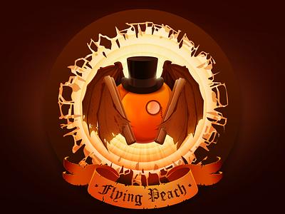 Flying Peach bacardi hat cocktail cinnamon ribbon monocle wings prokopenko proart peach cylinder