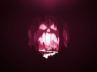 Skull Cave den grot grotto riskiness imminence hazard peril silhoutte landscape danger nature stones proart prokopenko exit mountain rock river cave skull