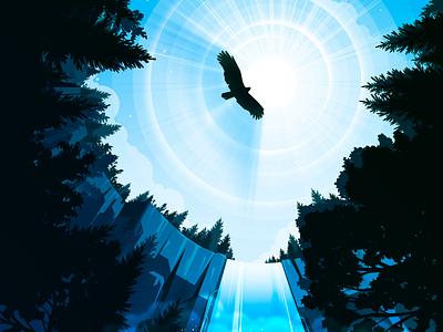 Waterfall negative illustration trend proart prokopenko wing hawk flight height spray flow water landscape nature forest bird eagle waterfall