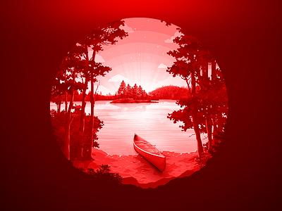 Lake Shore red reserved reserve trend illustration boat paddle wood proart prokopenko negative canada water horizon isle tree landscape nature lake coast
