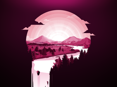 Field of Dreams negative illustration trend forest glade horizon river prokopenko proart water waterfall mountain landscape nature miracles field