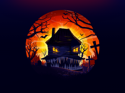 Halloween horror dribbbleweeklywarmup grin house monster trend proart radiance cemetery night cross bat tree negative illustration prokopenko landscape nature grave halloween