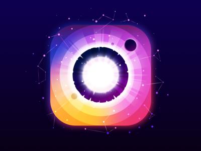 Instagram vector nature landscape ring fun instagram logo constellation stars panet circle radiance negative trend illustration prokopenko proart