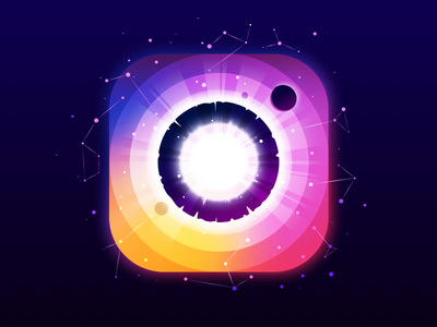 Instagram vector nature landscape ring fun instagram logo constellation stars panet circle radiance negative trend illustration prokopenko proart