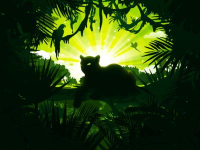 Panther negative illustration cougar prokopenko popular proart wilds cat liana paysage scene view landscape parrot scenery nature