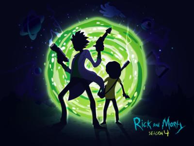 Rick and Morty portal man night vector season gun fun popular trend nature landscape illustration prokopenko proart cartoon genius morty rick