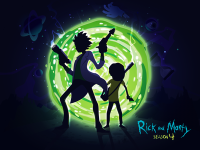 Rick and Morty portal man night vector season gun fun popular trend nature landscape illustration prokopenko proart cartoon genius morty rick