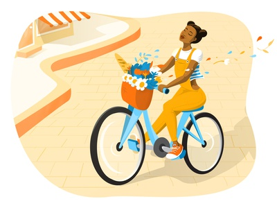 A Glimpse of Paris summertime sunny day girl illustration bicycle paris vectorart illustrator vector illustration