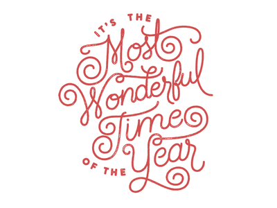 Most wonderful time of the year hand lettering distress screen print christmas cards