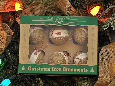 Dribbble Ornaments ornament packaging screen print christmas snowflake tree kraft box burlap