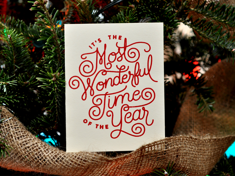 Most Wonderful Card screen print hand lettered lettering christmas card
