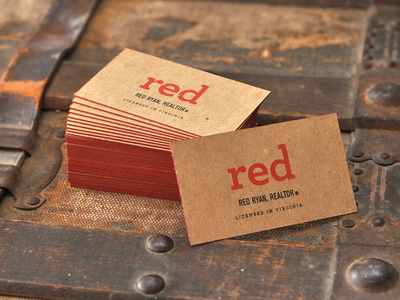 Red Ryan Business Cards screen print business cards edge coloring red chipboard metallic