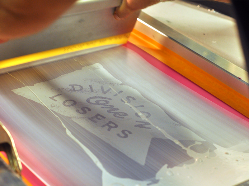 Division One Losers poster screen print blk smith process poster ink