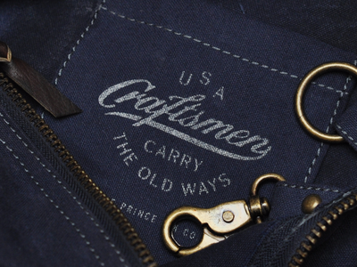 Craftsmen Collection duffle screen print waxed canvas brass leather stencil usa navy craftsmen