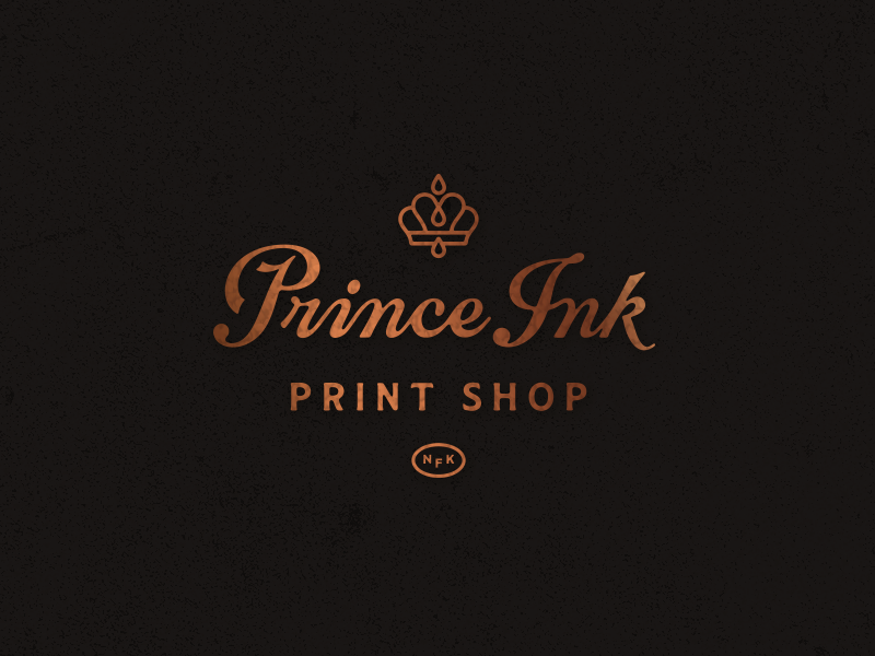 Prince Ink logo david smith print lettering crown logo prince ink