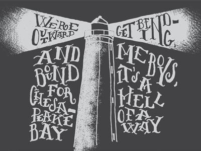 Virginia Beach virginia lighthouse cape henry chesapeake bay hand drawn lettering texture sea shanty