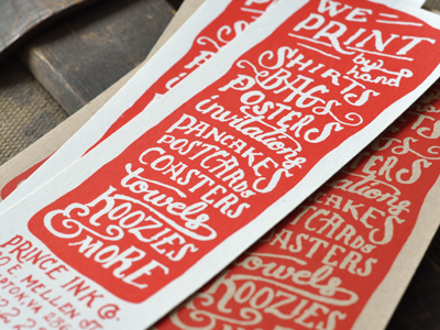 We print pancakes! bookmark flyer hand drawn ink screen print pancakes
