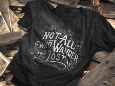 Not all who wander tee hide and seek new site handdrawn lettering screen print shirt hidden treasure 404