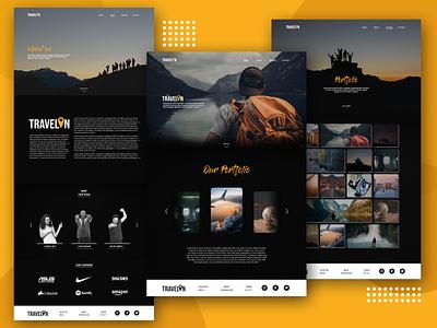 Travelin - Portfolio Travel Web web design travel app travel portfolio minimal ui design