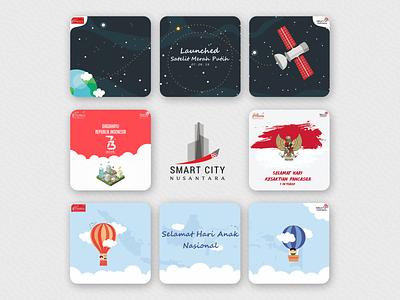 Social Media - Telkom (SCN) illustration social media minimal design