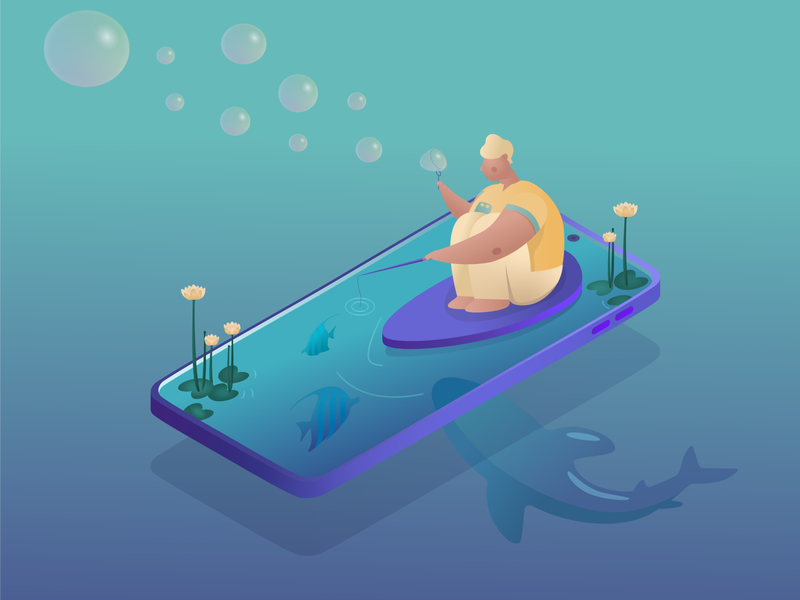 Fisherman mobile phone bubble lake fish isometric shark fisherman art digital painting adobe illustrator illustration illustrator