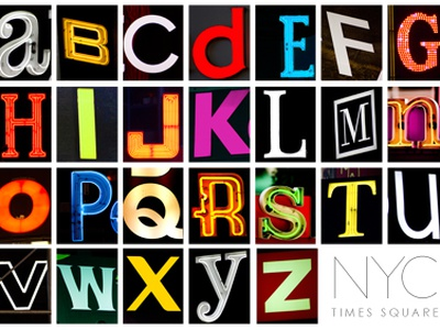 NYC Times Square Typography typography print type