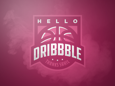 Hello Dribbble sports logo debut dribbble hello