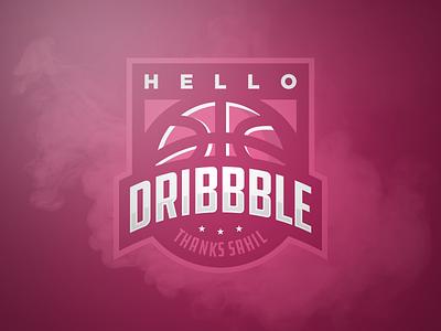 Hello Dribbble sports logo debut dribbble hello