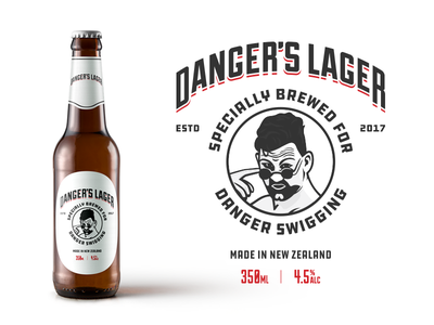 Danger's Lager dangers lager johnny danger label design beer label branding packaging beer