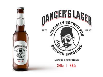 Danger's Lager dangers lager johnny danger label design beer label branding packaging beer