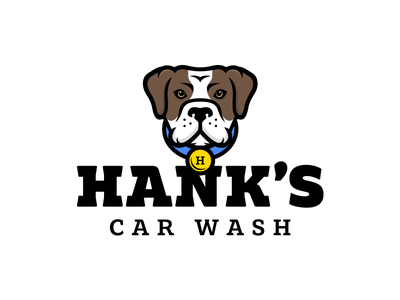 Hank's Car Wash esport logo dog logo sports bulldog esports mascot esport hank animal wash dogwash dog carwash