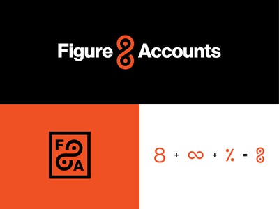 Figure 8 Accounts Logo Design percent monogram mark orange and black orange symbol logomark figure 8 icon financial finance bookkeeping accordion accounting accounts branding logo design logotype logodesign logo