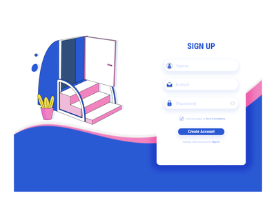 Signing up Page Day1 daily ui dailyui 001 typography dailyuichallenge vector minimal illustrator illustration graphic design flat design app