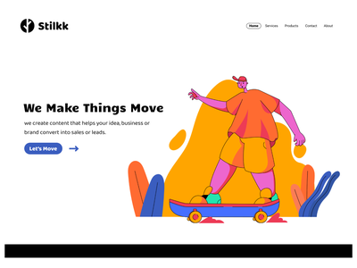 Stilkk Creative Landing Page dailyui003 typography web dailyuichallenge vector illustration illustrator graphic design flat design app