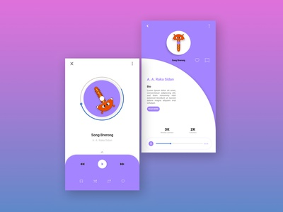 User Interface Design of Music Player designer portfolio practice ui design music player ui web typography app dailyuichallenge vector minimal flat illustration graphic design design