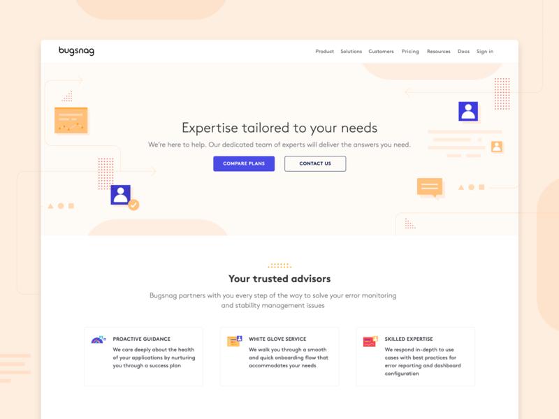Bugsnag — support page support landing page webflow website shapes design illustration