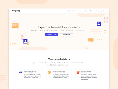 Bugsnag — support page support landing page webflow website shapes design illustration