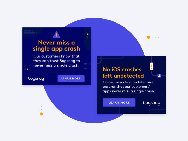 Bugsnag —banners! display ad shapes illustration design banner ads