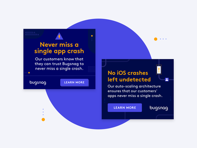 Bugsnag — banners! display ad shapes illustration design banner ads