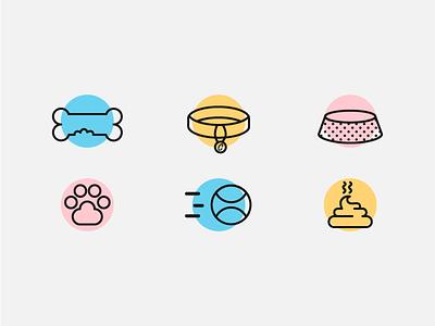 Icon Set: Dog paws poop collar bones dog icons illustration dog icons icon set icon dogs