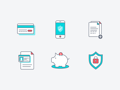 Icon set: financial security verify credit card illustration bank account security bank financial icons