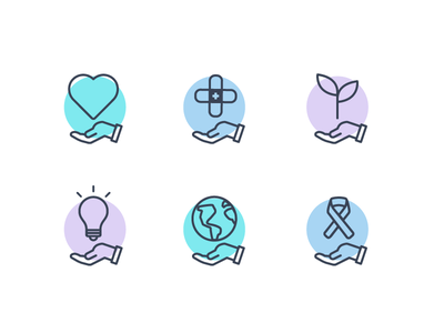 Icons: Charity Fundraisers compassion crowdfunding fundraisers charity illustrations icons