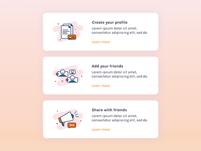 Horizontal cards icon illustration how it works onboarding cards