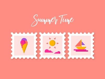 Summer Time summer time stamps boat sun ice cream summer illustration icon