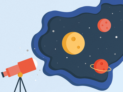 Space telescope planets exploration illustration space