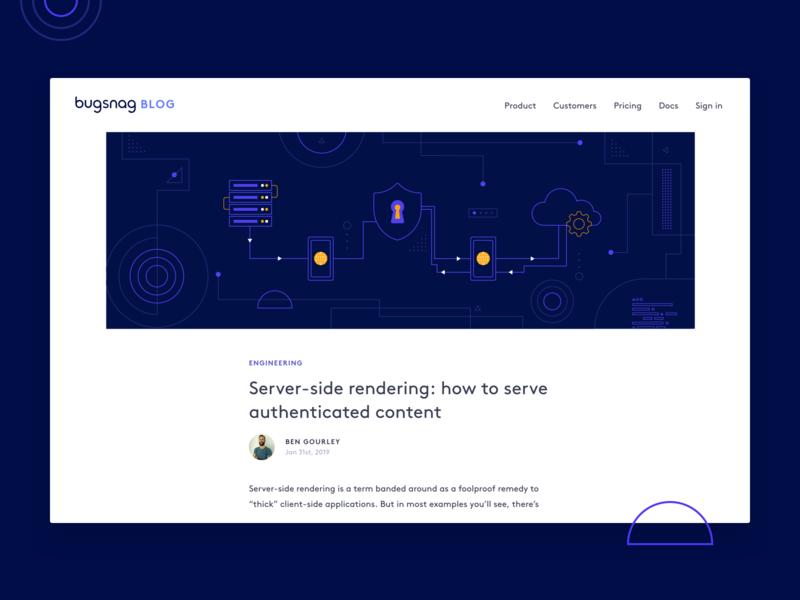 Server-side rendering header shapes server geometric dribbble design illustration